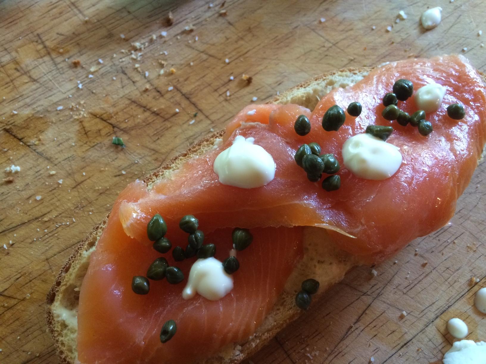 Salmon tartine at Moonrakers